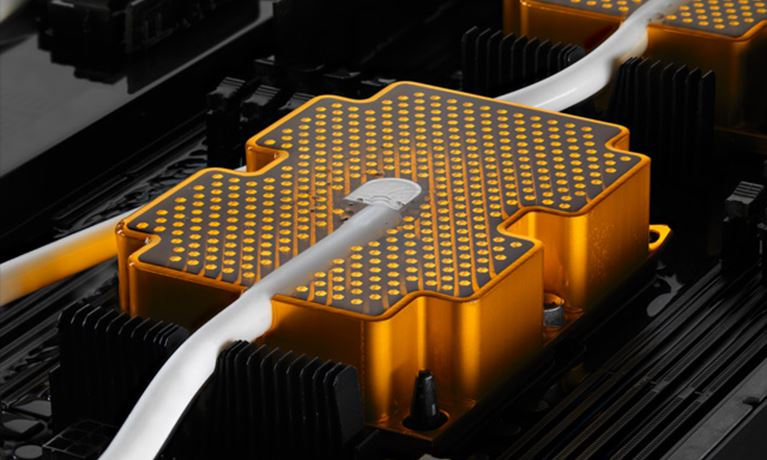 Orange heatsink with liquid